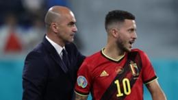 Belgium boss Roberto Martinez (l) and forward Eden Hazard
