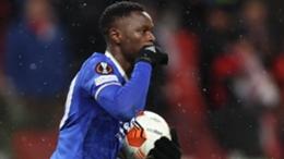 Leicester City striker Patson Daka celebrates scoring against Spartak Moscow