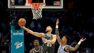 Ben Simmons goes up for the lay-up with John Collins defending at the Rising Stars Challenge.