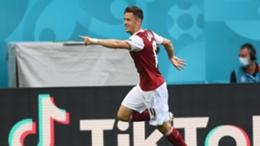 Christoph Baumgartner celebrates his vital strike