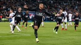 Kylian Mbappe celebrates his winner for PSG against Angers