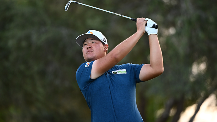 Sungjae Im of South Korea hits his tee shot on the eighth hole during round two of the Shriners Children's Open at TPC Summerlin