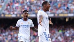 David Alaba and Vinicius Junior celebrate his goal against Barcelona