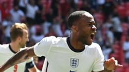 Raheem Sterling celebrates his winner against Croatia