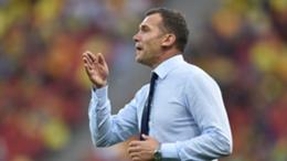 Ukraine boss Andriy Shevchenko during the Euro 2020 match with Austria
