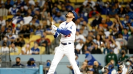 Los Angeles Dodgers star Cody Bellinger reacts