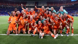 Netherlands players celebrate at Euro 2017