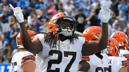 Kareem Hunt celebrates during the Browns' game with the Chargers in Week 5
