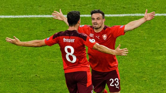 Switzerland's Xherdan Shaqiri (right) celebrates his goal against Turkey