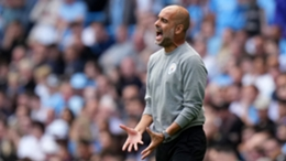 An animated Pep Guardiola during Manchester City's draw with Southampton