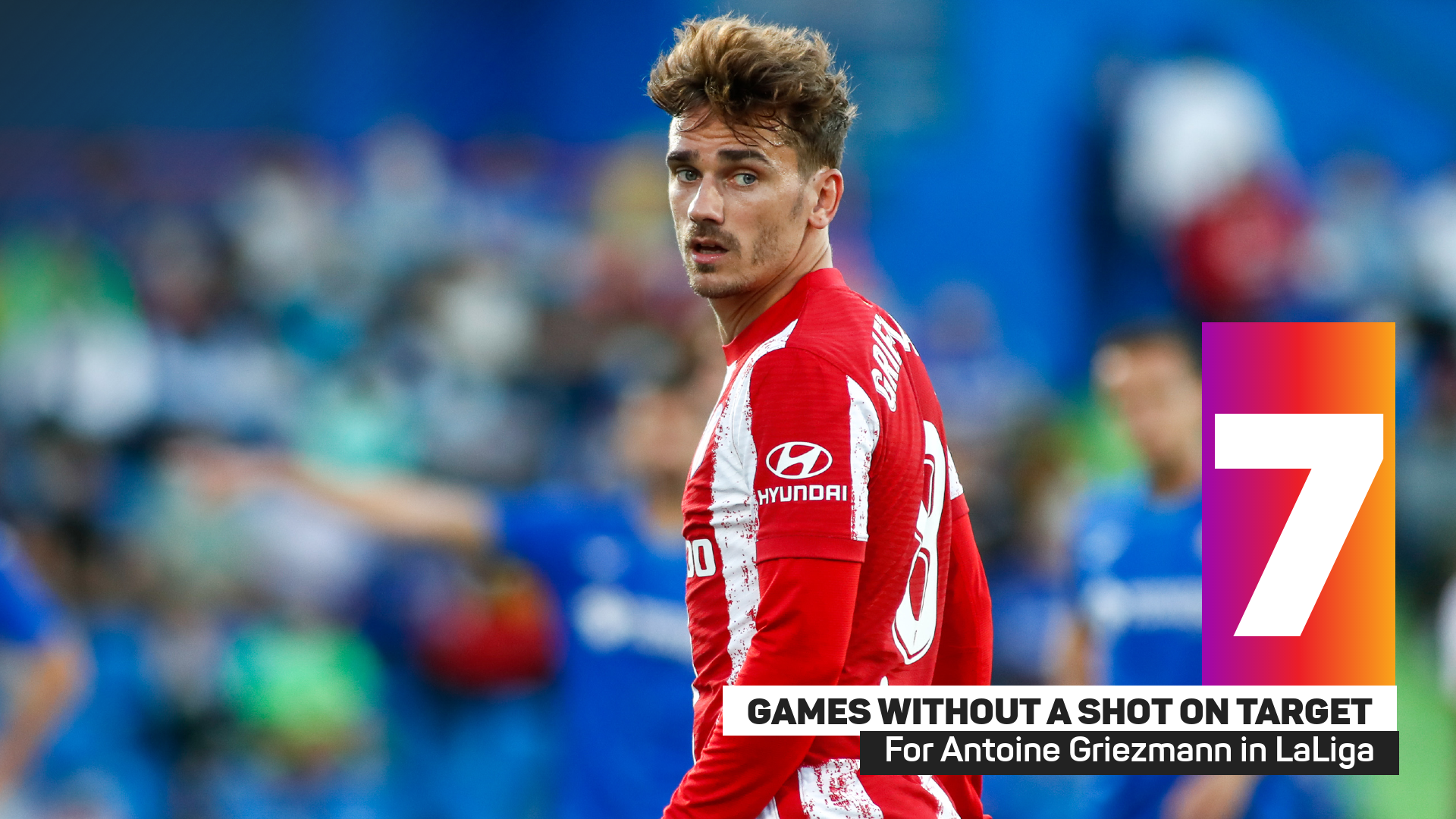 Antoine Griezmann has failed to have a shot on target in seven league games
