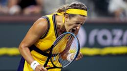 Victoria Azarenka of Belarus celebrates a point at the Indian Wells Open