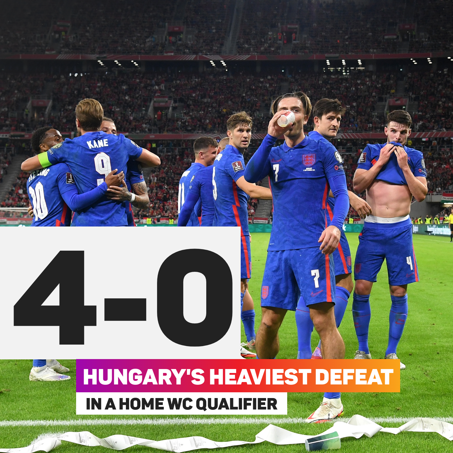 England handed Hungary a record defeat