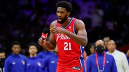 Joel Embiid addresses the crowd before the clash with the Brooklyn Nets