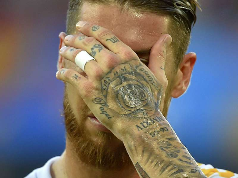 Image result for Sergio Ramos hand on the head