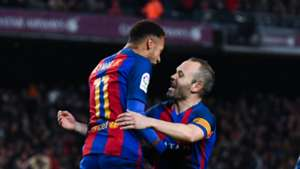 Neymar and Andres Iniesta