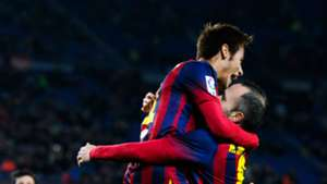Neymar with Andres Iniesta