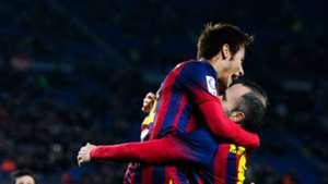 Neymar with Andres Iniesta