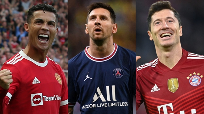 Cristiano Ronaldo, Lionel Messi and Robert Lewandowski are FIFA 22's top-rated players