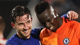 Ben Chilwell (l) and Edouard Mendy celebrate as Chelsea beat Brentford