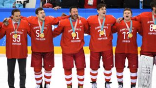 Olympic Athletes from Russia celebrate gold medal