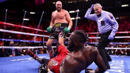 Tyson Fury sends Deontay Wilder to the canvas in their trilogy fight