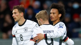 Leroy Sane celebrates Germany's third goal against Iceland