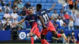 Thomas Lemar celebrates his late winner against Espanyol