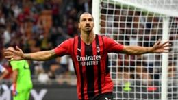 Milan's Zlatan Ibrahimovic celebrates his goal against Lazio