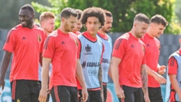 Belgium's players train ahead of their Euro 2020 clash with Finland