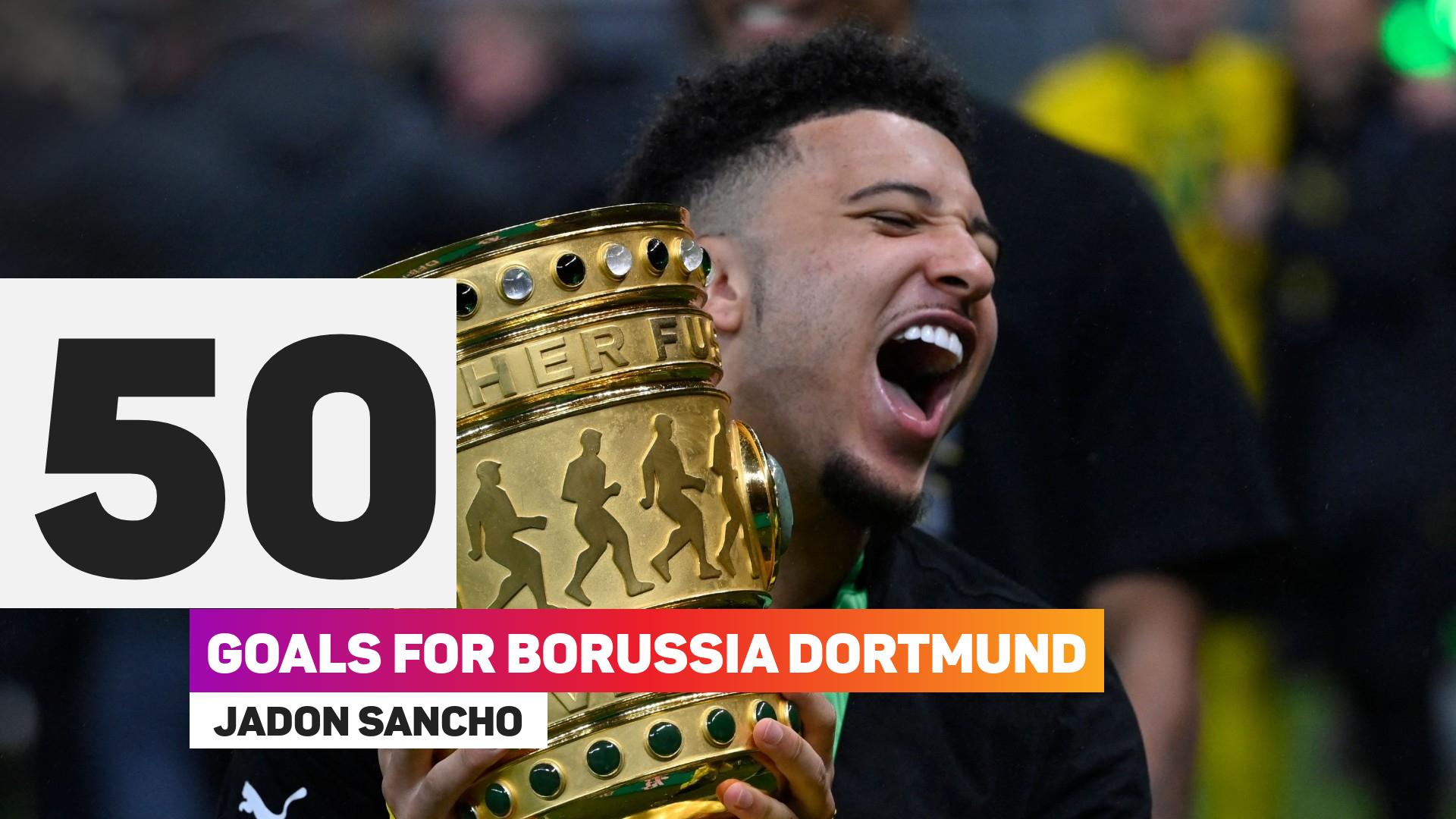 Jadon Sancho has netted 50 goals for Borussia Dortmund