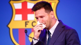 Lionel Messi during his tearful Barcelona farewell before joining PSG