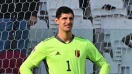Thibaut Courtois in action for Belgium against Italy