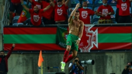 Cristiano Ronaldo celebrates scoring against the Republic of Ireland