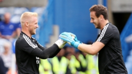Leicester club-mates Kasper Schmeichel and Danny Ward will be Euro 2020 rivals on Saturday
