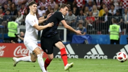 Mario Mandzukic scores the winner for Croatia against England at the World Cup