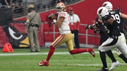 Trey Lance in action for the 49ers in their loss to the Cardinals