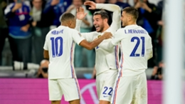 France celebrate Theo Hernandez's goal against Belgium