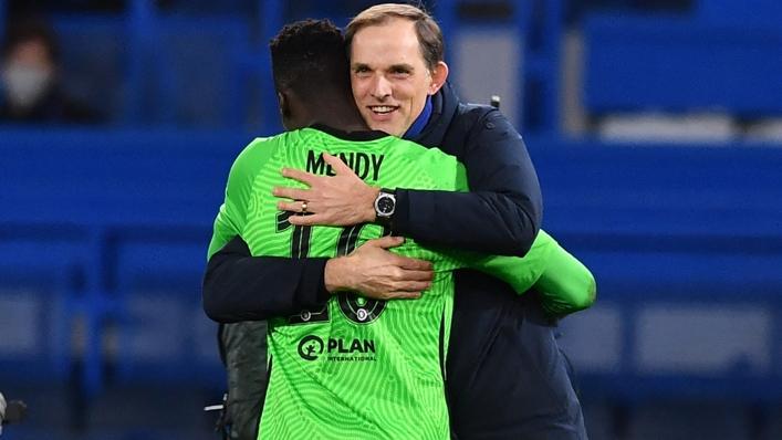 Thomas Tuchel embraces Chelsea goalkeeper Edouard Mendy