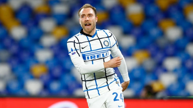 Inter's Christian Eriksen celebrates his goal against Napoli