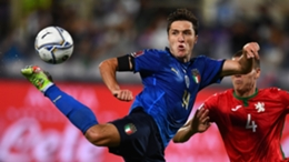 Federico Chiesa in action for Italy against Bulgaria