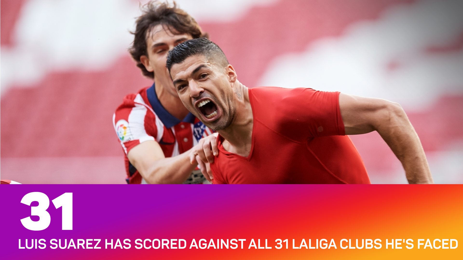 Luis Suarez has scored against all 31 LaLiga clubs he has faced