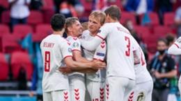 Denmark celebrate against Wales