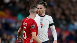 Jack Grealish takes issue with a foul against Hungary