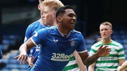 Alfredo Morelos celebrates against Celtic