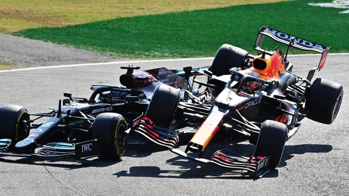 Max Verstappen collides with Lewis Hamilton at the Italian Grand Prix