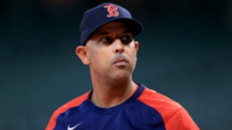 Boston Red Sox manager Alex Cora stands on the field before their game against the Houston Astros