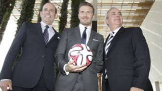 Don Garber, David Beckham and Carlos Gimenez