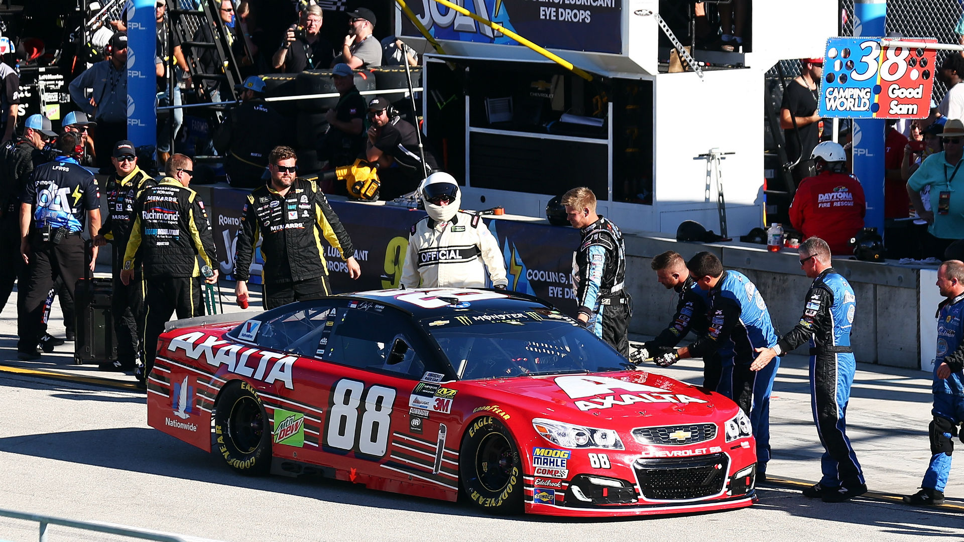 Watch: NASCAR pit crews salute Dale Earnhardt Jr. as they once did for his father at Daytona