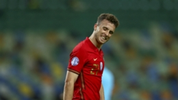 Liverpool and Portugal forward Diogo Jota in action